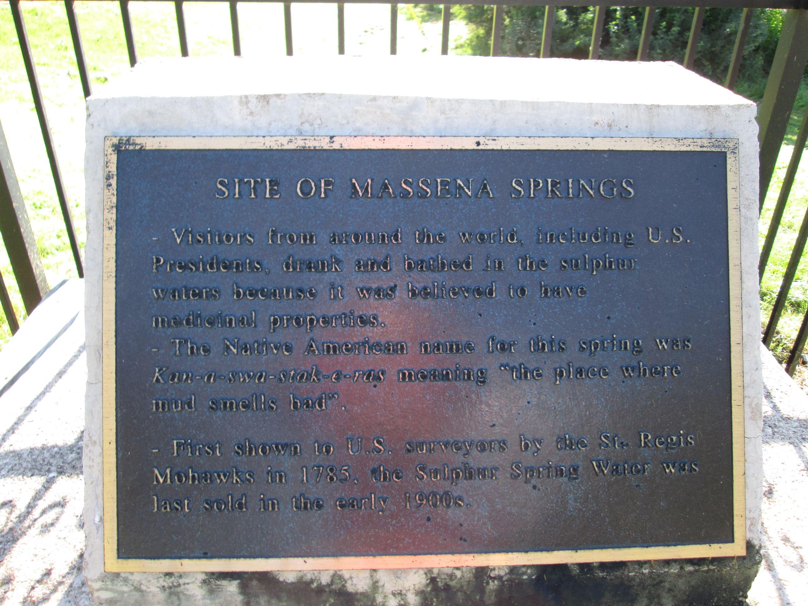 Massena Springs Historic Marker